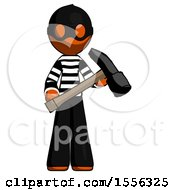 Orange Thief Man Holding Hammer Ready To Work