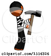 Orange Thief Man Hammering Something On The Right