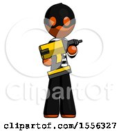Orange Thief Man Holding Large Drill