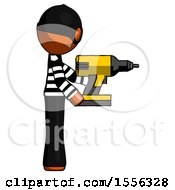 Orange Thief Man Using Drill Drilling Something On Right Side