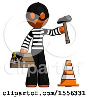 Orange Thief Man Under Construction Concept Traffic Cone And Tools