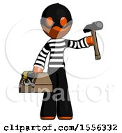 Orange Thief Man Holding Tools And Toolchest Ready To Work