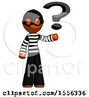 Orange Thief Man Holding Question Mark To Right