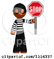 Orange Thief Man Holding Stop Sign