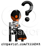 Orange Thief Man Question Mark Concept Sitting On Chair Thinking