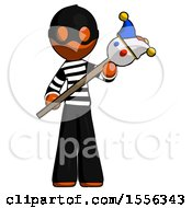 Orange Thief Man Holding Jester Diagonally