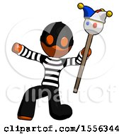 Orange Thief Man Holding Jester Staff Posing Charismatically