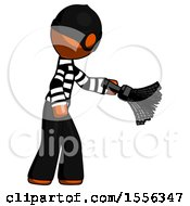Orange Thief Man Dusting With Feather Duster Downwards