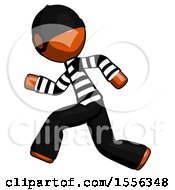 Poster, Art Print Of Orange Thief Man Running Fast Left