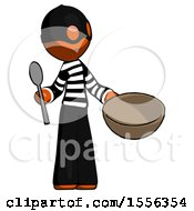 Orange Thief Man With Empty Bowl And Spoon Ready To Make Something