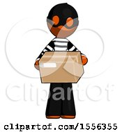 Orange Thief Man Holding Box Sent Or Arriving In Mail