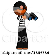 Orange Thief Man Holding Binoculars Ready To Look Right