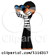 Orange Thief Man Looking Through Binoculars To The Left