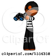 Orange Thief Man Holding Binoculars Ready To Look Left