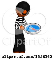 Orange Thief Man Looking At Large Compass Facing Right