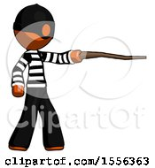 Orange Thief Man Pointing With Hiking Stick
