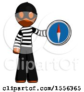 Poster, Art Print Of Orange Thief Man Holding A Large Compass