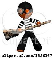 Orange Thief Man Broom Fighter Defense Pose