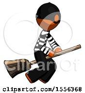 Orange Thief Man Flying On Broom