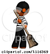 Orange Thief Man Sweeping Area With Broom