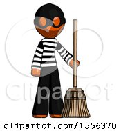 Orange Thief Man Standing With Broom Cleaning Services