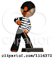 Orange Thief Man Cleaning Services Janitor Sweeping Floor With Push Broom