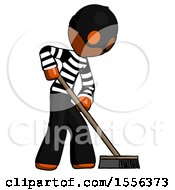 Orange Thief Man Cleaning Services Janitor Sweeping Side View