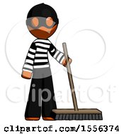 Orange Thief Man Standing With Industrial Broom