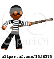 Orange Thief Man Bo Staff Pointing Right Kung Fu Pose