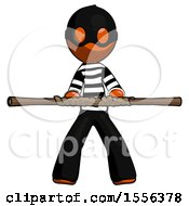 Orange Thief Man Bo Staff Kung Fu Defense Pose