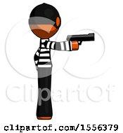 Poster, Art Print Of Orange Thief Man Firing A Handgun