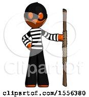 Orange Thief Man Holding Staff Or Bo Staff