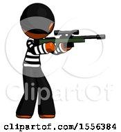 Poster, Art Print Of Orange Thief Man Shooting Sniper Rifle