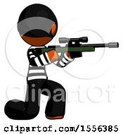 Poster, Art Print Of Orange Thief Man Kneeling Shooting Sniper Rifle