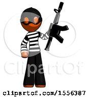 Orange Thief Man Holding Automatic Gun