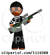 Poster, Art Print Of Orange Thief Man Holding Sniper Rifle Gun