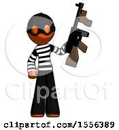 Poster, Art Print Of Orange Thief Man Holding Tommygun