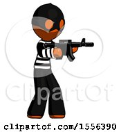 Poster, Art Print Of Orange Thief Man Shooting Automatic Assault Weapon
