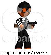 Poster, Art Print Of Orange Thief Man Tommy Gun Gangster Shooting Pose