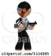 Orange Thief Man Tommy Gun Gangster Shooting Pose