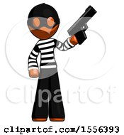 Poster, Art Print Of Orange Thief Man Holding Handgun