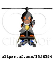 Orange Thief Man Flying In Gyrocopter Front View