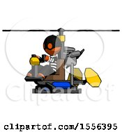 Orange Thief Man Flying In Gyrocopter Front Side Angle View