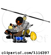 Orange Thief Man Flying In Gyrocopter Front Side Angle Top View