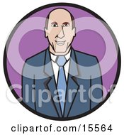 Friendly Professional Business Man In A Blue Suit And Tie Clipart Illustration by Andy Nortnik