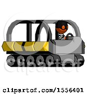 Orange Thief Man Driving Amphibious Tracked Vehicle Side Angle View