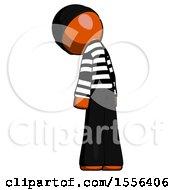 Orange Thief Man Depressed With Head Down Back To Viewer Left