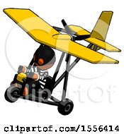 Poster, Art Print Of Orange Thief Man In Ultralight Aircraft Top Side View