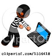 Poster, Art Print Of Orange Thief Man Throwing Laptop Computer In Frustration
