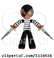 Orange Thief Man Two Sword Defense Pose